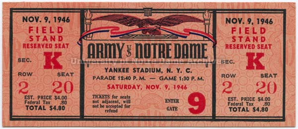 PATH Football Ticket:  ND vs. Army, 11/09/1946. Dimensions:  2.25 x 5.25